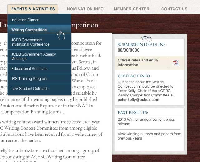 ACEBC Site, Sidebar Detail